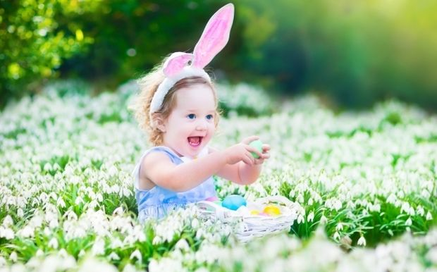 girl with bunny ears outdoors