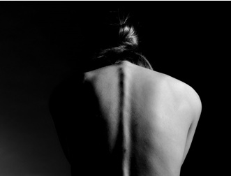 woman's back black and white