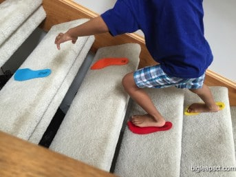 kid climbing stairs